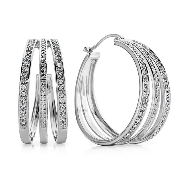 Diamond Accent & White Crystal Open Hoop Earrings in Platinum-Plated Bronze