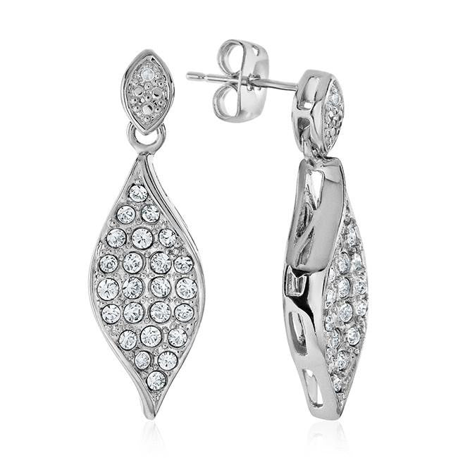 Swarovski Elements  & Diamond Dangle Earrings in Platinum/Bronze