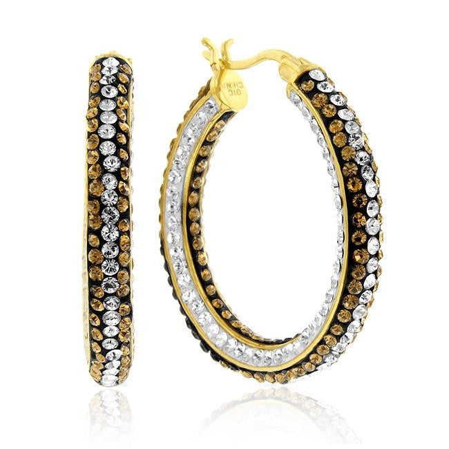 Gold-Plated Bronze Crystal Hoop Earrings
