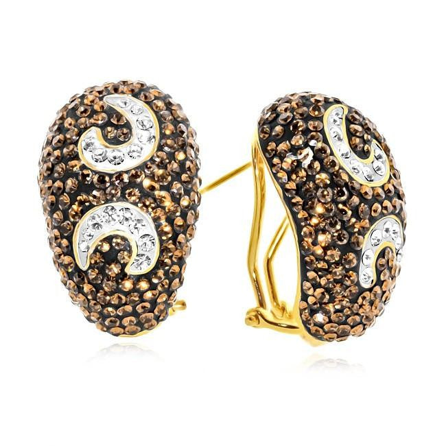 Gold-Plated Bronze Brown & White Crystal Earrings