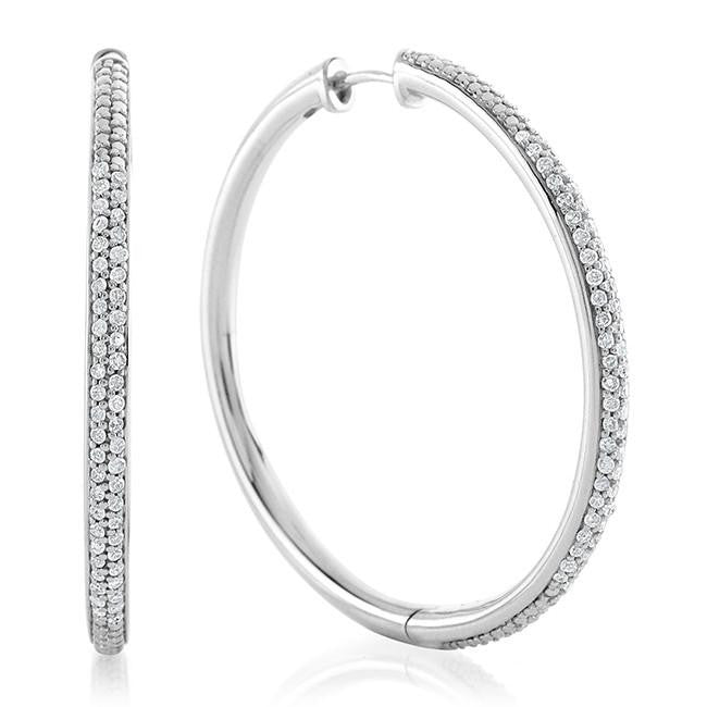 0.50 Carat Diamond Hoop Earrings in Sterling Silver