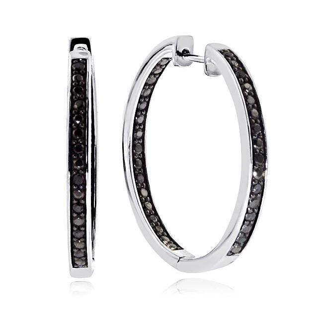 1/4 Carat Black Diamond Inside-Out Hoop Earrings in Sterling Silver