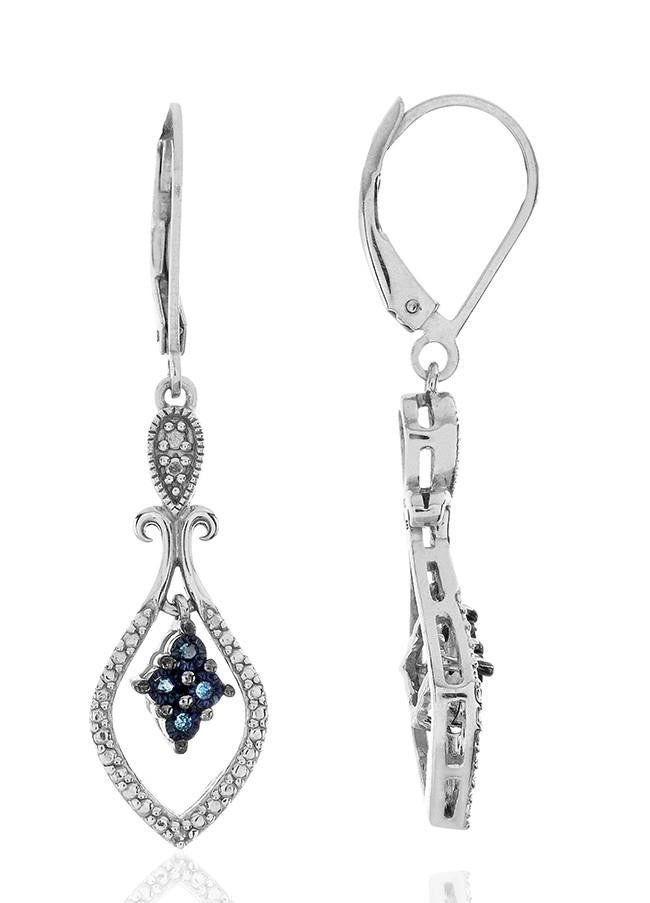 0.05 Carat Blue & White Diamond Earrings in Sterling Silver