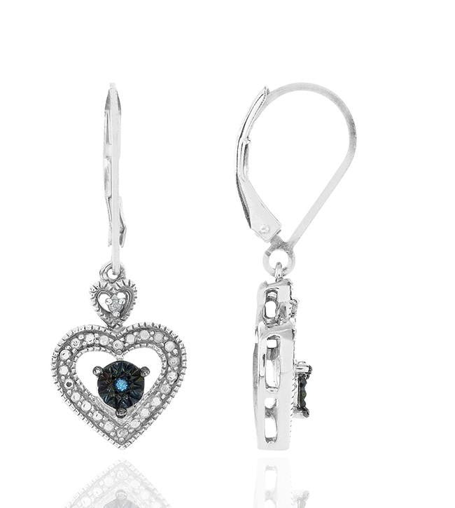 Diamond Miracles: Blue & White Diamond Heart Earrings in Sterling Silver