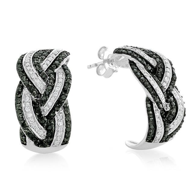 1.00 Carat Black & White Diamond Earrings in Sterling Silver
