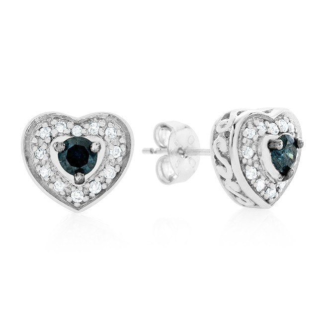 0.33 Carat Blue & White Diamond Heart Stud Earrings in Sterling Silver