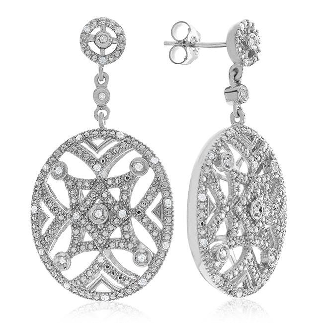 0.25 Carat Diamond Dangle Earrings in Sterling Silver