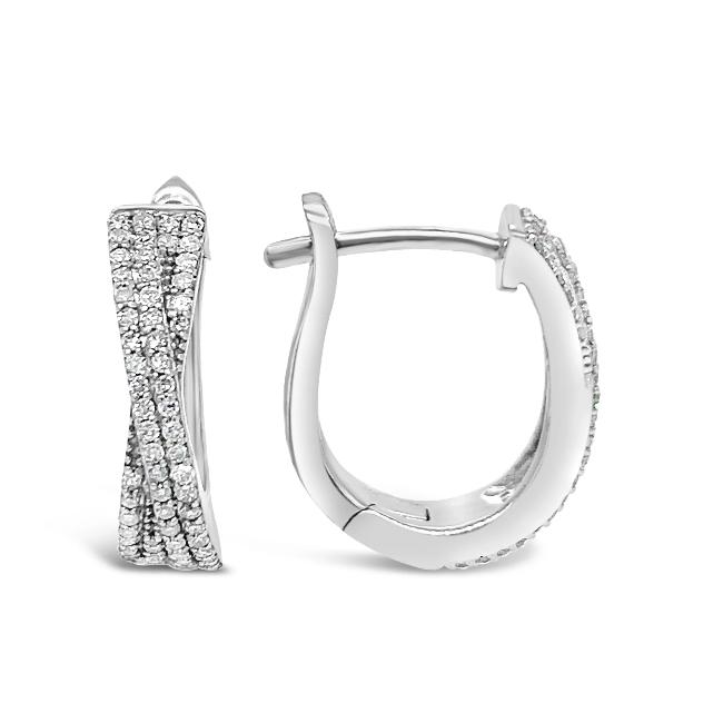 1/4 Carat Diamond Criss-Cross Hoop Earrings in Sterling Silver