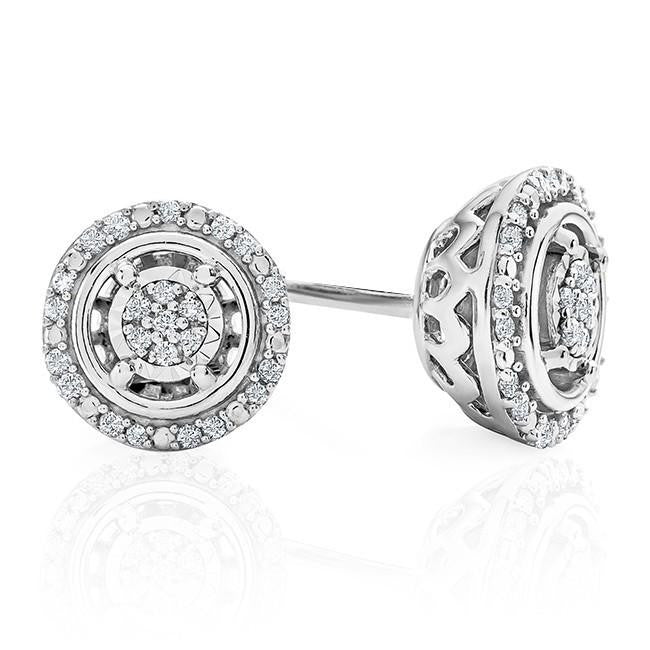 1/10ct Diamond Halo Stud Earrings in Sterling Silver