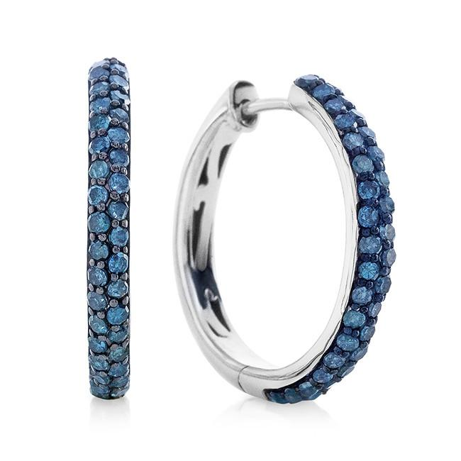 0.60 Carat Blue Diamond Hoop Earrings in Sterling Silver