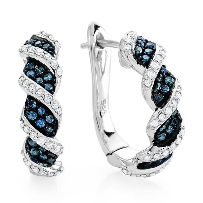 0.33 Carat Blue & White Diamond Hoop Earrings in Sterling Silver