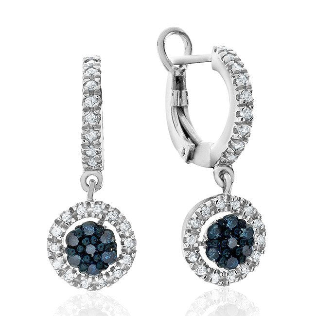 1/2 Carat Blue & White Diamond Earrings in Sterling Silver