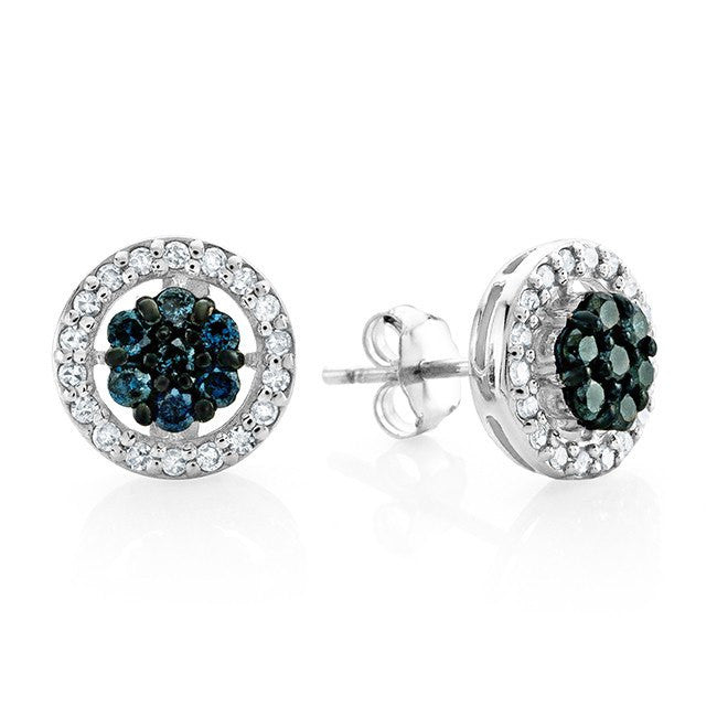 0.50 Carat Blue & White Diamond Stud Earrings in Sterling Silver