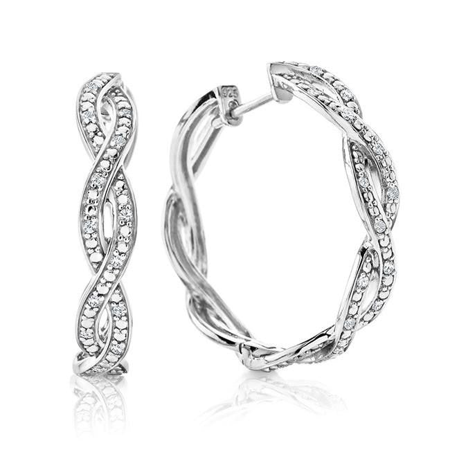1/3 Carat Diamond Twist Hoop Earrings in Sterling Silver