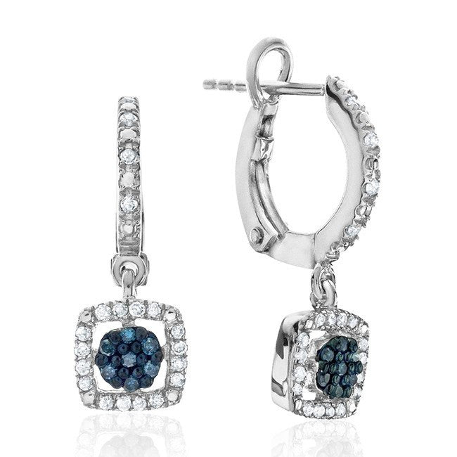 1/4 Carat Blue & White Diamond Earrings in Sterling Silver