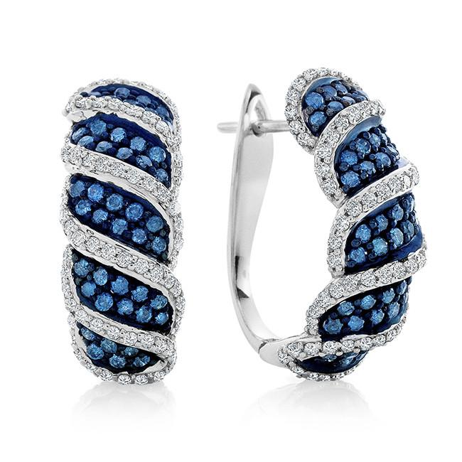 1.45 Carat Blue & White Diamond Swirl Earrings in Sterling Silver