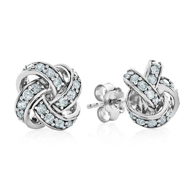 1.00 Carat Diamond Knot Earrings in Sterling Silver