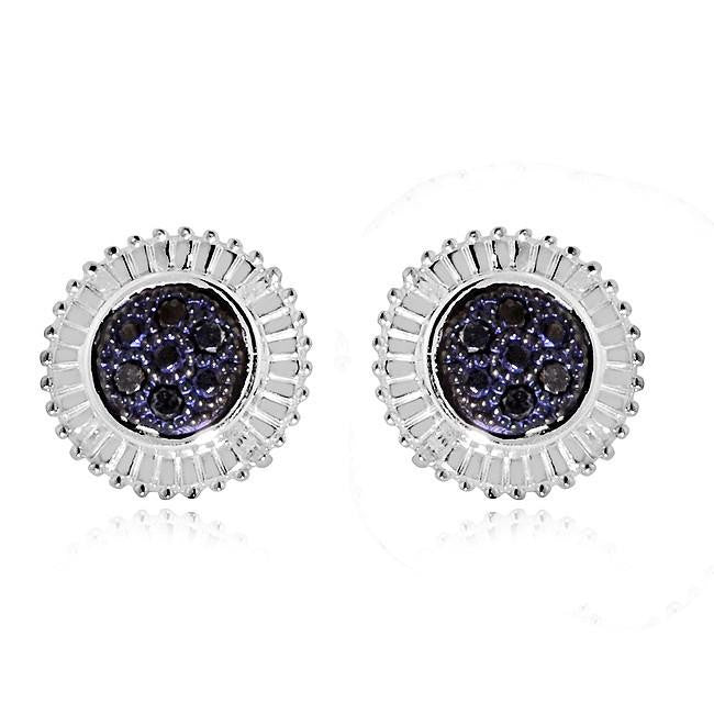 4a0c9e5a0 1/4 Carat Black & White Diamond Cluster Earrings in Sterling Silver ...