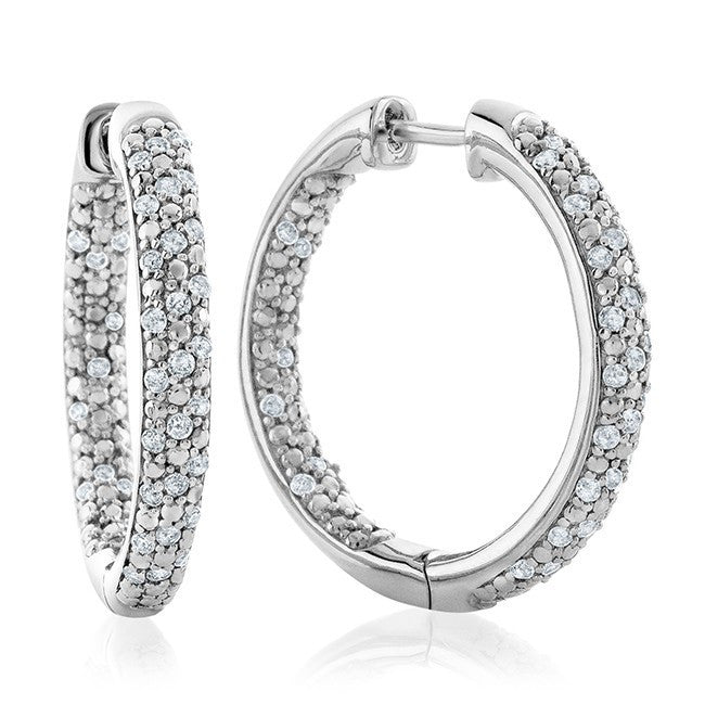 1/2 Carat Diamond Hoop Earrings in Sterling Silver