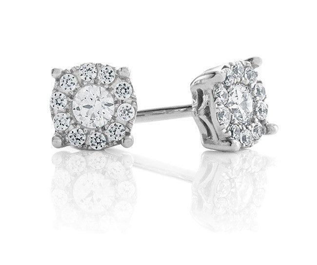 Endless Harmony: 0.25 Carat Diamond Stud Earrings in Sterling Silver