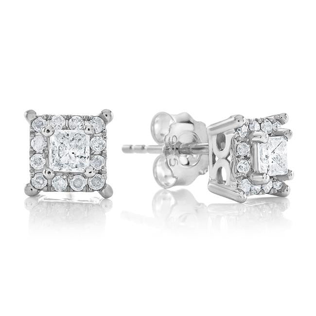 Endless Harmony: 0.50 Carat Diamond Stud Earrings in Sterling Silver
