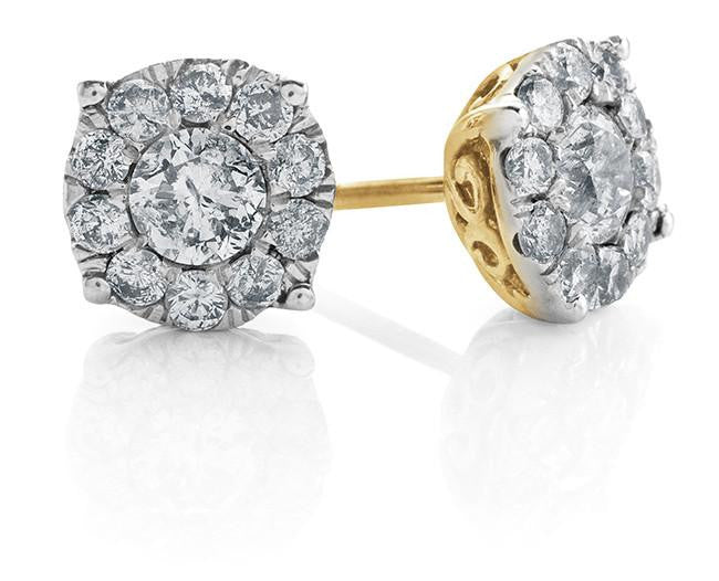 Endless Harmony: 0.25 Carat Diamond Stud Earrings in Gold-Plated Sterling Silver