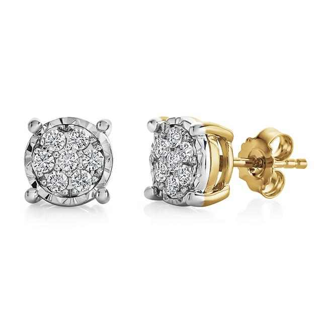 1/2 Carat Diamond Cluster Studs in Gold-Plated Sterling Silver