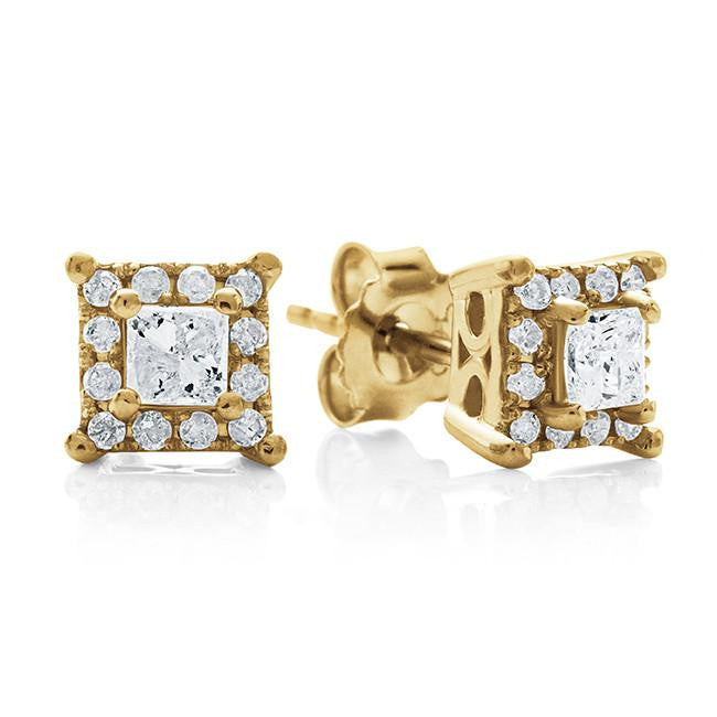 Endless Harmony: 0.50 Carat Diamond Stud Earrings in Yellow Gold-Plated Sterling Silver