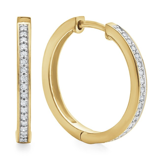 1/4 Carat Diamond Hoop Earrings in Gold-Plated Sterling Silver