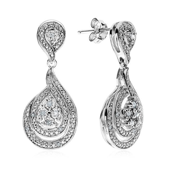 Diamond Miracles: 0.05 Carat Diamond Earrings in Sterling Silver