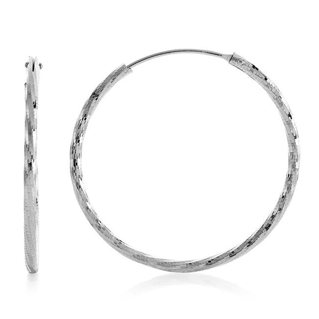 Chateau Montreal Sterling Silver Twisted Hoop Earrings