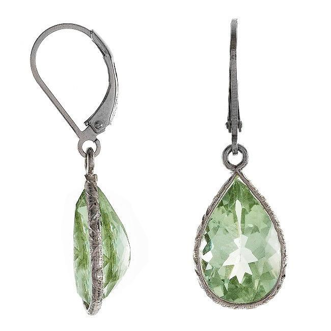 8.00 Carat Chateau Montreal Genuine Green Amethyst Teardrop Earrings in Sterling Silver