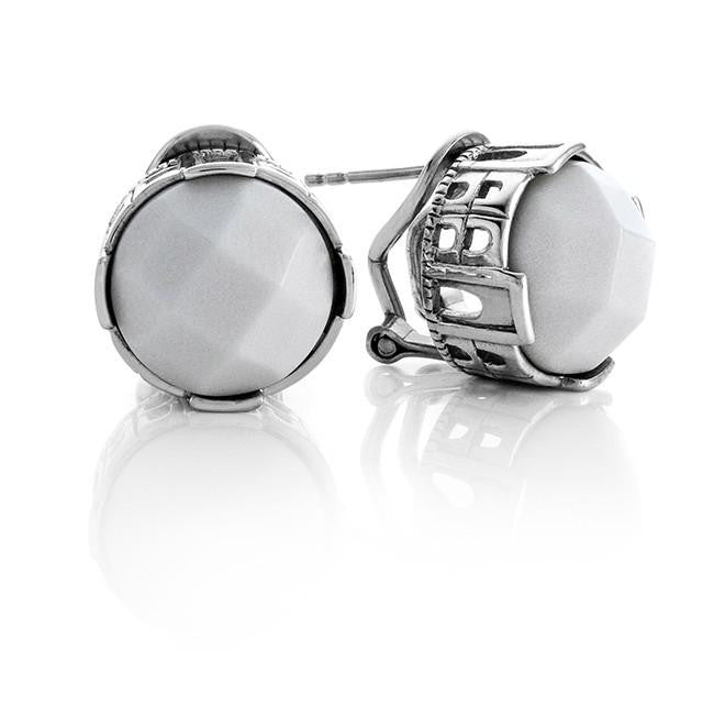 Genuine White Quartz Stud Earrings in Sterling Silver