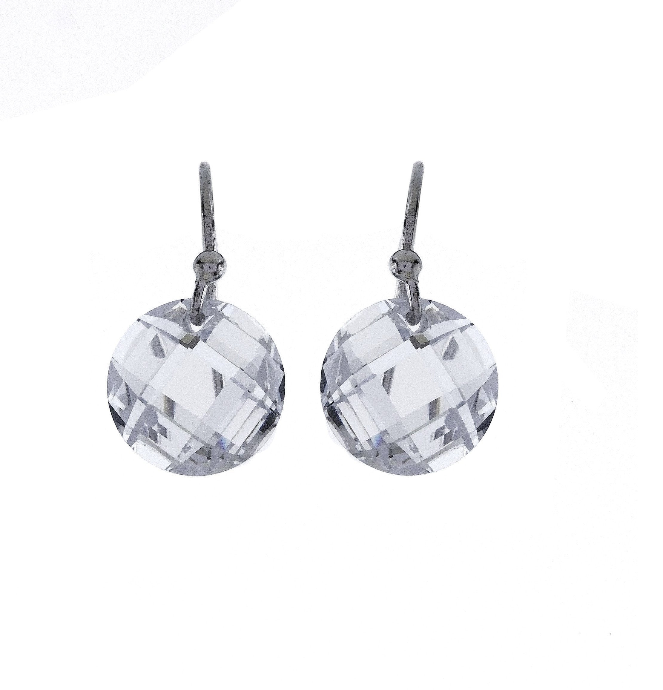 Round Cubic Zirconia Dangle Earrings with Sterling Silver Backs