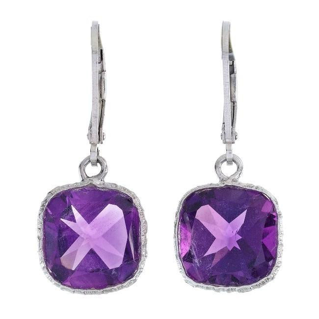 7.00 Carat Chateau Montreal Genuine Amethyst Square Earrings in Sterling Silver