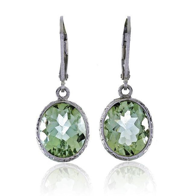 6.00 Carat Chateau Montreal Genuine Green Amethyst Oval Earrings in Sterling Silver