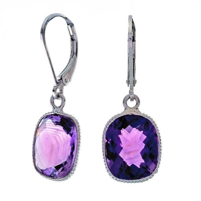 8.00 Carat Chateau Montreal Genuine Amethyst Cushion Earrings in Sterling Silver