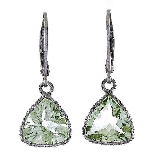 5.00 Carat Chateau Montreal Genuine Green Amethyst Trillion Earrings in Sterling Silver