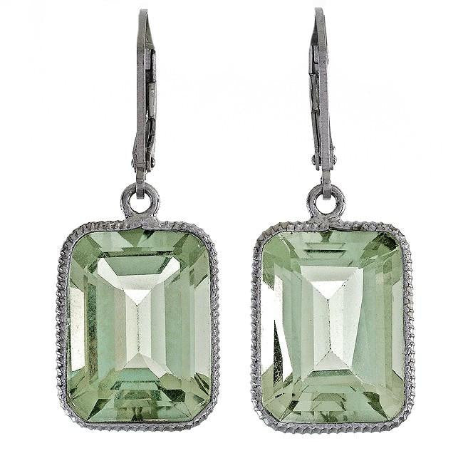 15.00 Carat Chateau Montreal Genuine Green Amethyst Earrings in Sterling Silver