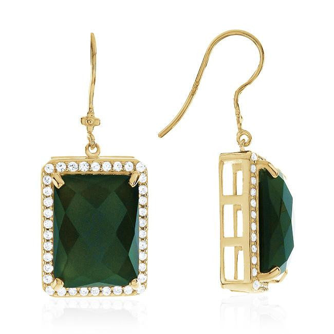 Genuine Green Onyx Dangle Earrings in 14K Yellow Gold Over Silver