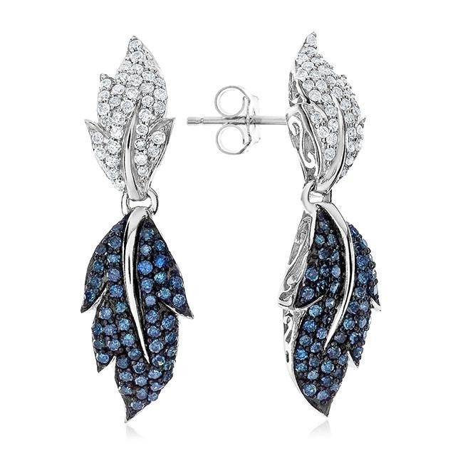 1.00 Carat Blue & White Diamond Leaf Earrings in Sterling Silver