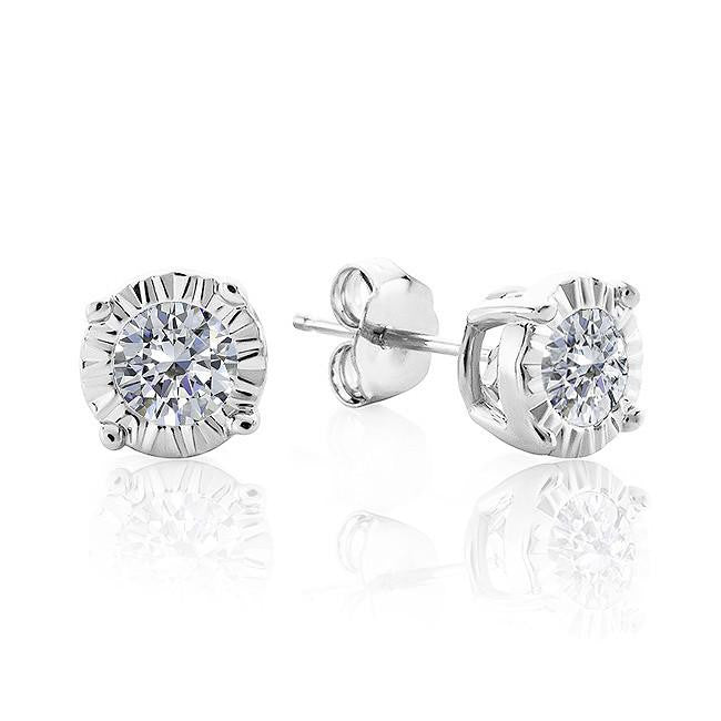 0.15 Carat Diamond Miracle Setting Stud Earrings in Sterling Silver