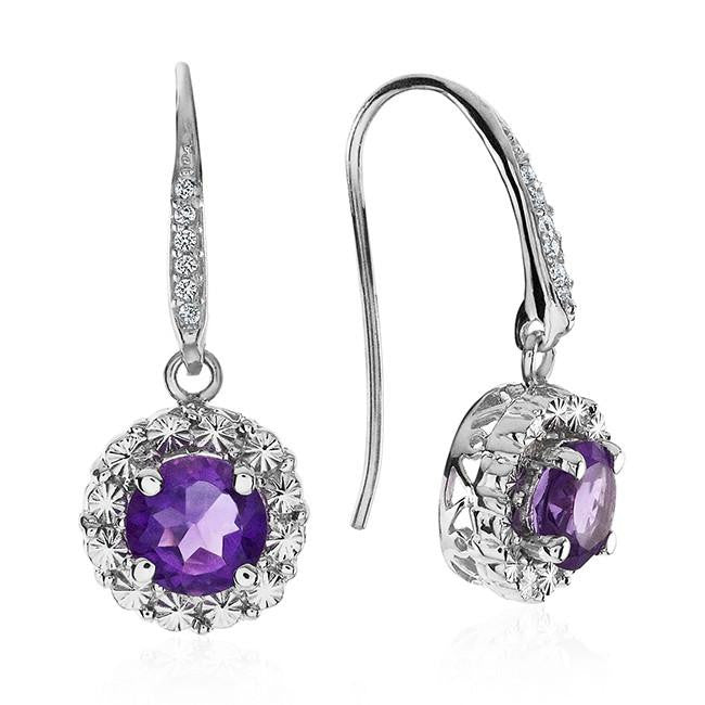 2.00 Carat Amethyst and White Sapphire Earrings in Sterling Silver