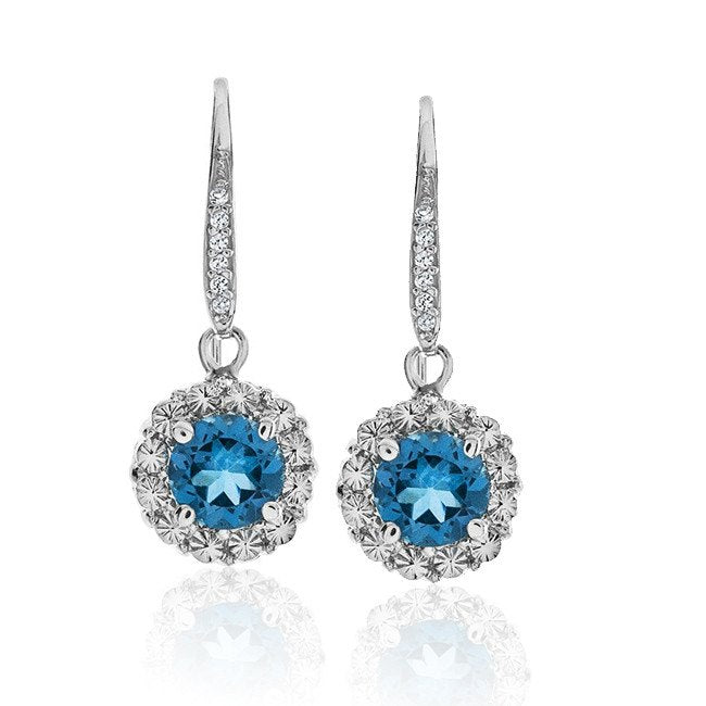2.00 Carat Blue Topaz and White Sapphire Earrings in Sterling Silver