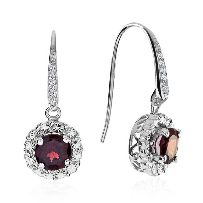 2.00 Carat Garnet and White Sapphire Earrings in Sterling Silver