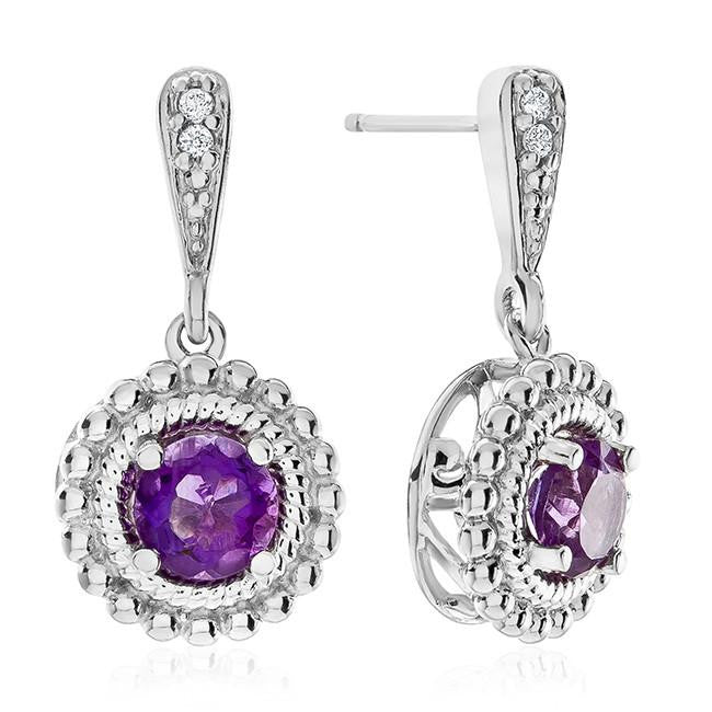 Amethyst & White Sapphire Dangle Earrings in Sterling Silver