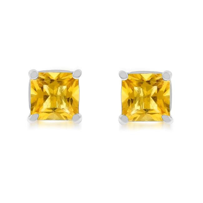 1.80 Carat tw Citrine Princess Cut Stud Earrings in Sterling Silver