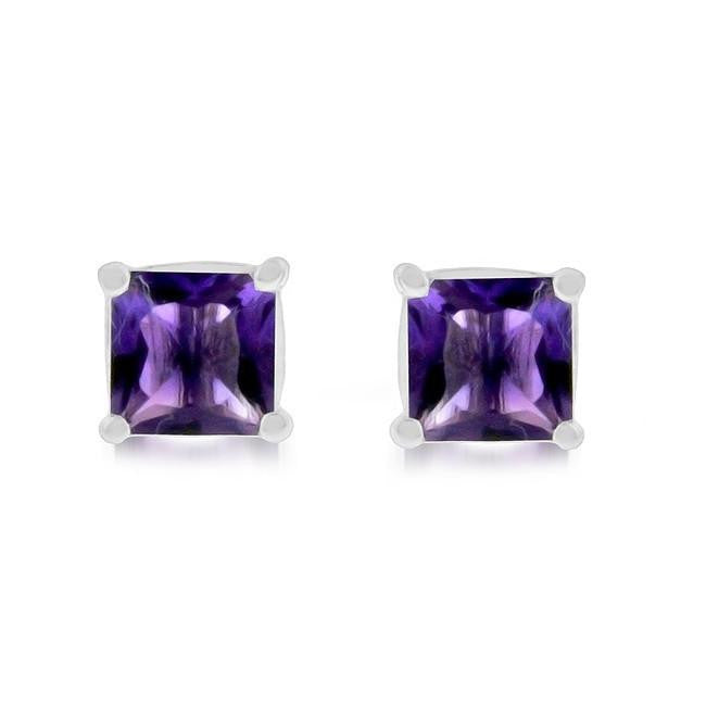 3.50 Carat tw Amethyst Princess Cut Stud Earrings in Sterling Silver