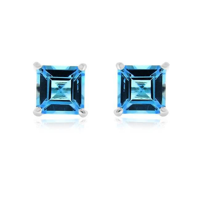 4.00 Carat tw Blue Topaz Princess Cut Stud Earrings in Sterling Silver