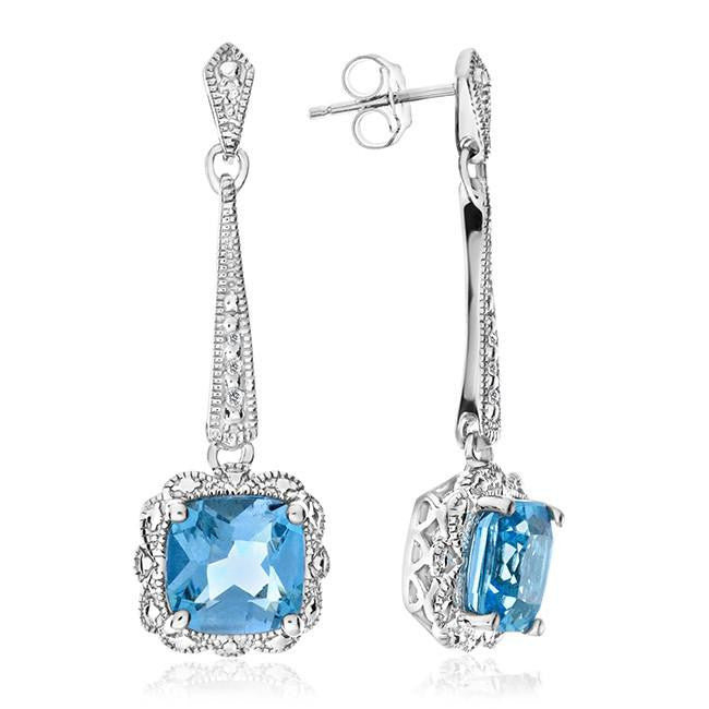 2.20 Carat Blue Topaz Dangle Earrings in Sterling Silver